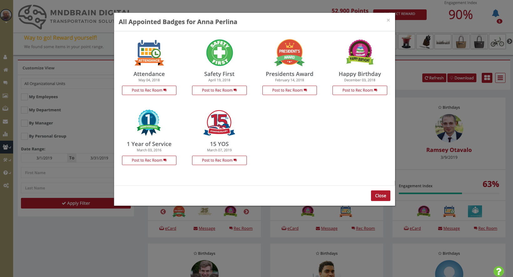 Screenshot of PAE Badges